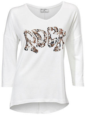 T-shirt tendance femme, message en paillettes femme Rick Cardona blanc