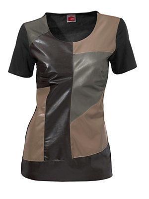 Top original à manches courtes, effet patchwork cuir femme Rick Cardona multicolore