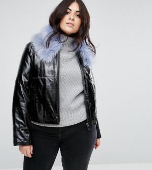Urbancode Plus – Manteau ultra-brillant en vinyle à col en fausse fourrure – Noir