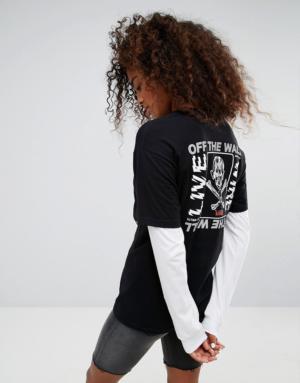 Vans – Live Wire – T-shirt boyfriend double épaisseur – Noir