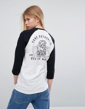 Vans – Rattlesnake – T-shirt boyfriend à manches raglan avec imprimé au dos – Noir