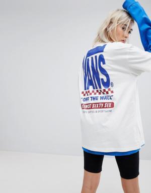 Vans – T-shirt à manches courtes fendues – Guimauve – Blanc