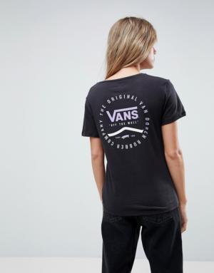 Vans – T-shirt avec étiquette logo – Noir – Noir