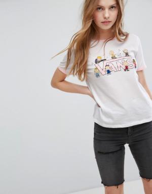 Vans X Peanuts – Dance Party – T-shirt à bords contrastants – Rose – Blanc