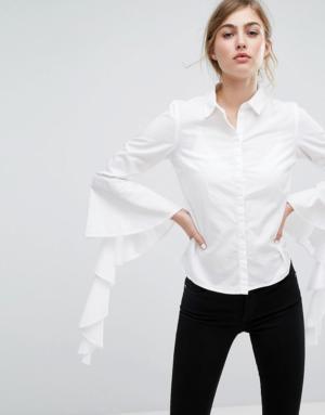 Vero Moda – Chemise à manches volantées – Blanc