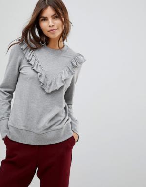 Vero Moda – Sweat-shirt à volants sur le devant – Gris