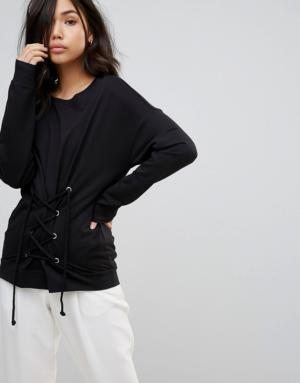 Vero Moda – Sweat-shirt avec détail corset – Noir