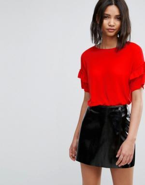 Vero Moda – T-shirt avec manches à volant – Rouge