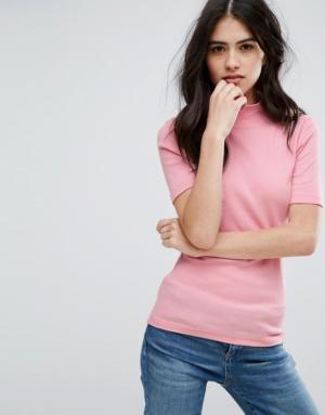 Vila – T-shirt à col montant – Rose
