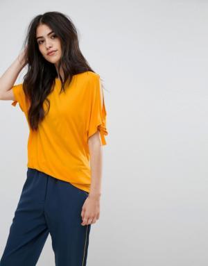 Vila – T-shirt à manches nouées – Jaune