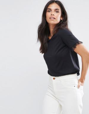 Vila – T-shirt avec manches à volants en tulle – Noir