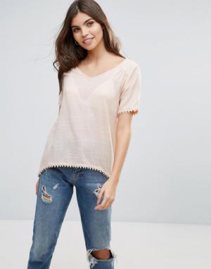 Vila – T-shirt fendu dans le dos – Rose