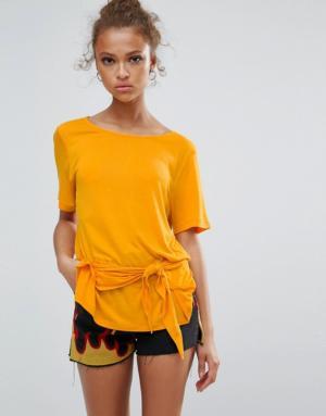 Vila – T-shirt noué sur le devant – Jaune