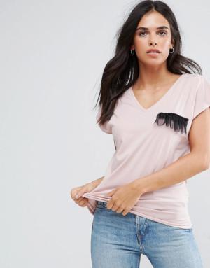 Vila – T-shirt volanté en tulle – Multi