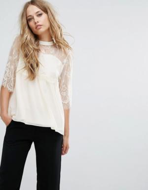 Vila – Top habillé avec manches en dentelle – Blanc