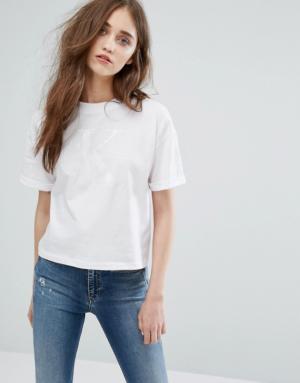 Calvin Klein Jeans – T-shirt doux à logo ton sur ton – Blanc