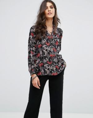 BA&SH – Chemise rayée à fleurs – Noir