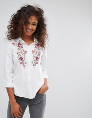ASOS – Chemise avec fleurs brodées – Blanc