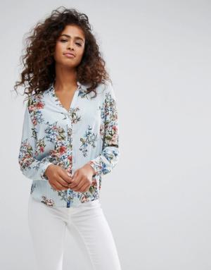 Esprit – Chemise à rayures et motif floral – Multi