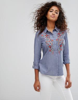 ASOS – Chemise avec fleurs brodées – Bleu