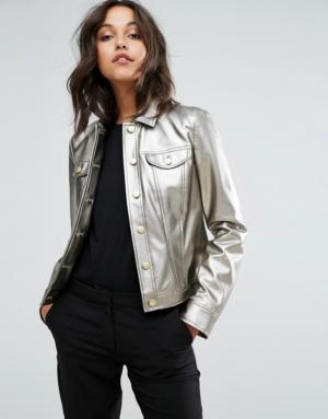 Sisley – Veste-chemise métallisée – Argenté
