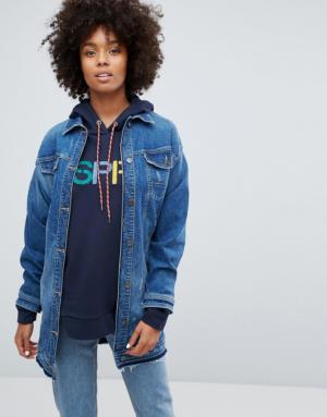 Esprit – Veste en jean longue – Bleu