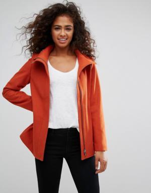 Esprit – Manteau en laine zippé sur le devant – Rouge