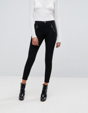 Esprit – Pantalon carotte zippé sur le devant – Noir