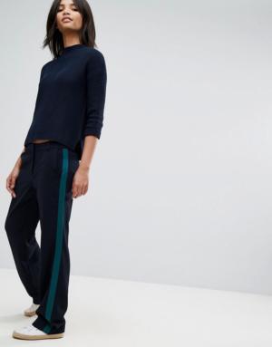 Esprit – Pantalon à bande sur les côtés – Bleu