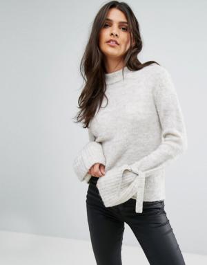 Vero Moda – Pull avec liens aux manches – Blanc
