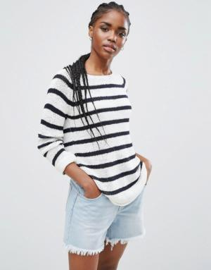 Only – Pull col bateau en maille rayée – Multi
