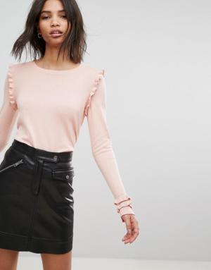Vero Moda – Top avec manches ornées de volants – Rose