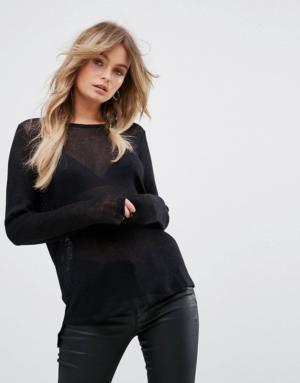 Vero Moda – Pull en maille ajourée – Noir