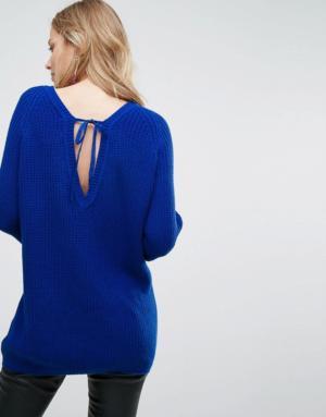 Vero Moda – Pull col en V – Bleu