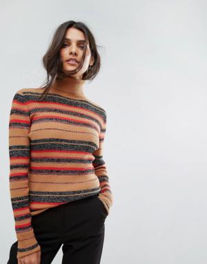 Vero Moda – Top rayé à col roulé – Beige