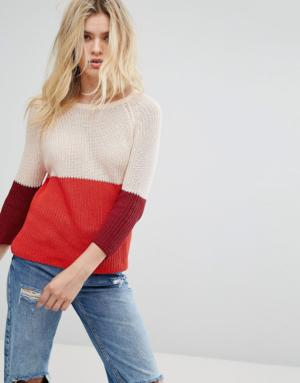 Only – Pull en maille – Color block – Rouge