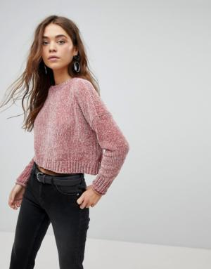Only – Pull court en maille chenille – Rose