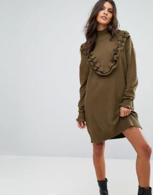 Vero Moda – Robe pull à volants – Vert