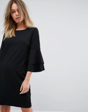 Vero Moda – Robe droite à manches volantées – Noir