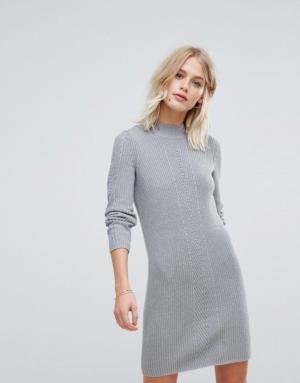 Esprit – Robe courte en maille – Gris