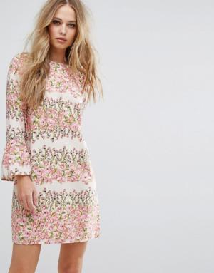 Vero Moda – Robe droite à fleurs – Rose