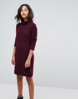 Esprit – Robe mi-longue en maille à col roulé – Rouge