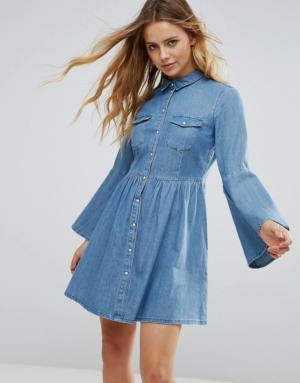 Only – Robe en jean à manches cloche – Bleu