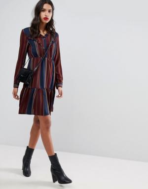 Vero Moda – Robe à rayures et volants – Multi