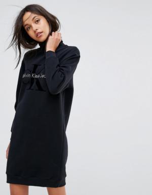 Calvin Klein Jeans – Robe griffée à col polo – Noir