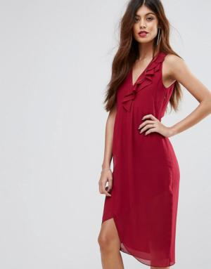 Sisley – Robe mi-longue à volants – Rose