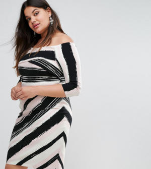 Coast Plus – Colombus – Robe fourreau style Bardot à rayures – Multi