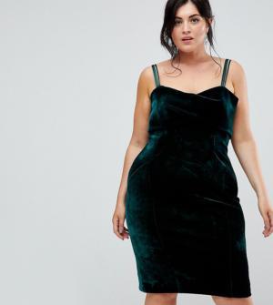 Coast Plus – Fenya – Robe en velours – Vert – Noir