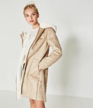 Manteau effet peau lainée Promod