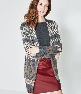 choisir véritable mode designer beau look Long gilet en jacquard Femme Promod